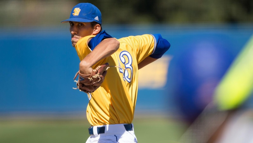 Stevie Ledesma pitched a 6-hit, complete game shutout and the Gauchos connected for three home runs in a 12-0 blowout of CSUN on Saturday at Caesar Uyesaka Stadium. (Photo by Eric Isaacs)