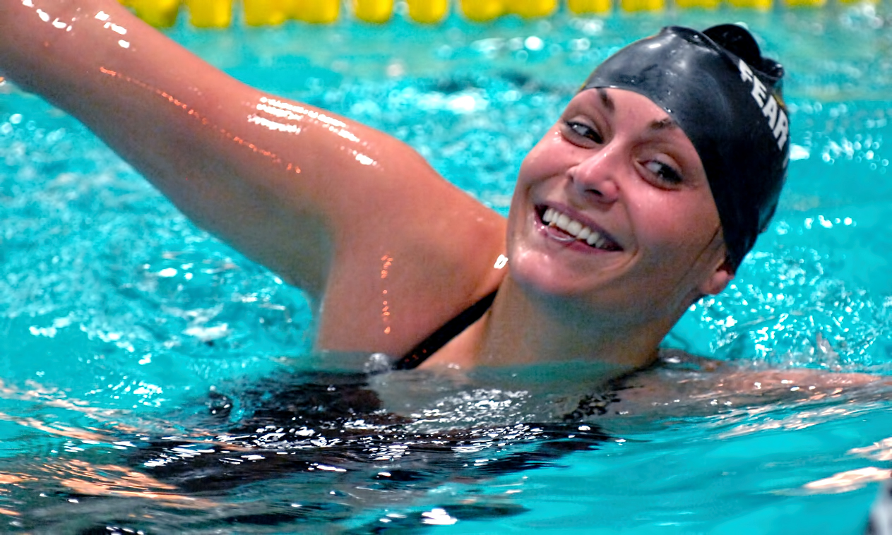 Annie Herkenhoff won both the 1650-yard and 100-yard freestyle events at the Cobbers' dual with St. Catherine.