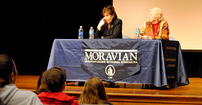 Dr. Margaret McMenamin and Dr. Christina W. Jackson answer questions at Moravian's Title IX Keynote Lecture on January 24, 2013.