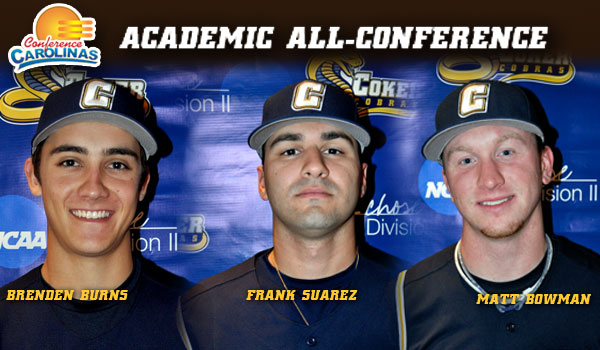 Coker Baseball Trio Honored For Academics