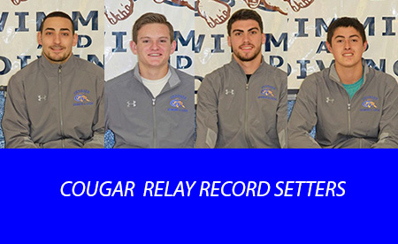 Head shots of four men's Cougar swimmers who broke school records November 17 and 18