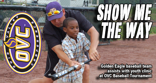 Golden Eagle baseball team passes skills along at OVC Youth Clinic