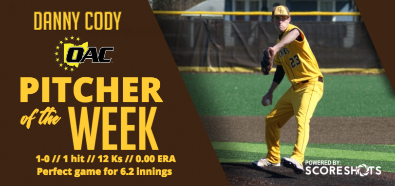 Cody Earns First OAC Pitcher of the Week Honor