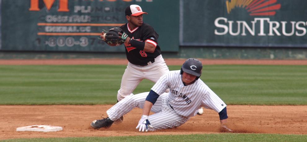 Edison Cabrera in action in Saturday's DH at Catawba (photo by Chris Lenker)