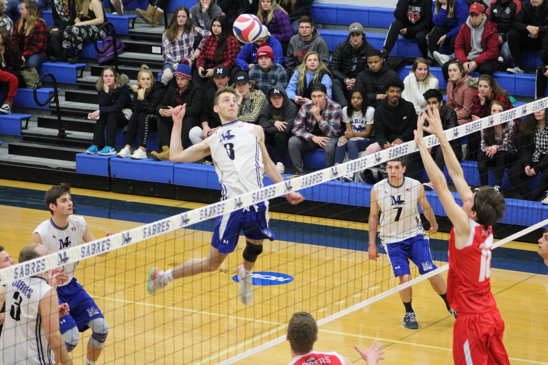 Jacob DeGroot goes up for an attack.