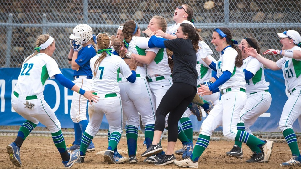 Thrill of victory for the Seahawk softball team following a 3-0 triumph in the Commonwealth Coast Conference (CCC) title match with the Hawks; it's the second straight league championship for Salve Regina and a return trip to the NCAA Division III Softball Championships. (Photo by Andrea Hansen)