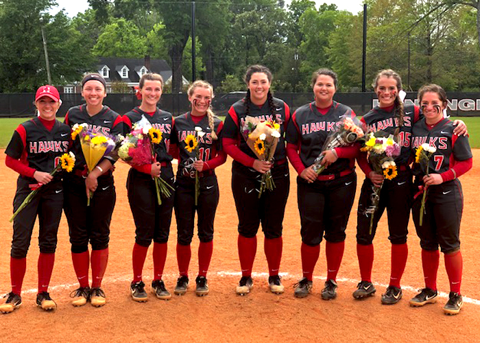 The Huntingdon softball team recognized its seniors during Senior Day on Sunday. (Photo by Vic Jerald)