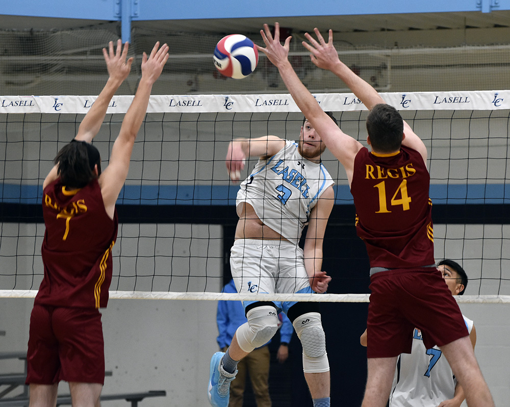 MVB: Lasers split first conference tri-match; DeSouza thumps 13 kills in win