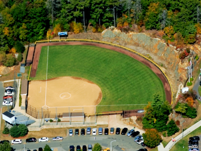 Aerial view of the softball complex.