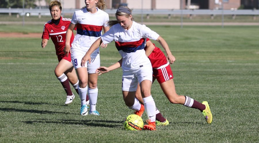 Jasmine Blindt scores two goals in No. 19 Hutchinson's 6-0 Jayhawk West victory over Garden City on Saturday. (Joel Powers/Blue Dragon Sports Information)
