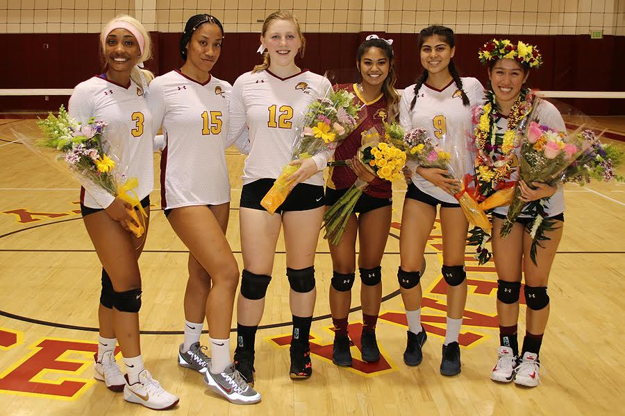 PCC women's volleyball sophomores were recognized for their 2-year accomplishments on Friday night, photo by Richard Quinton.