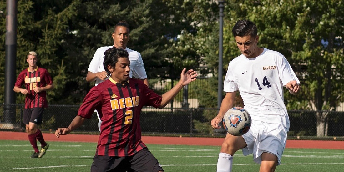 Restrepo's Natural Hat Trick Sends Men's Soccer Past Emerson, 5-2