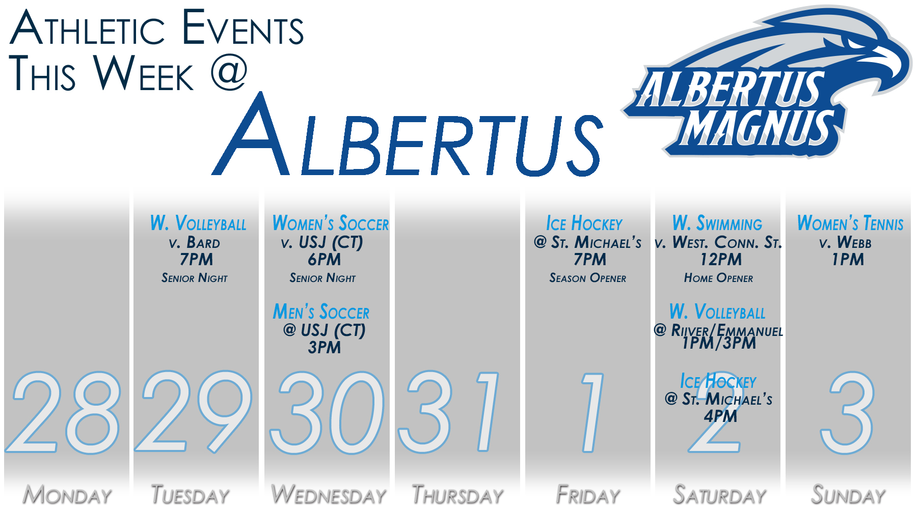 Albertus Magnus Athletics - Weekly Schedule (Oct. 28 - Nov. 3)