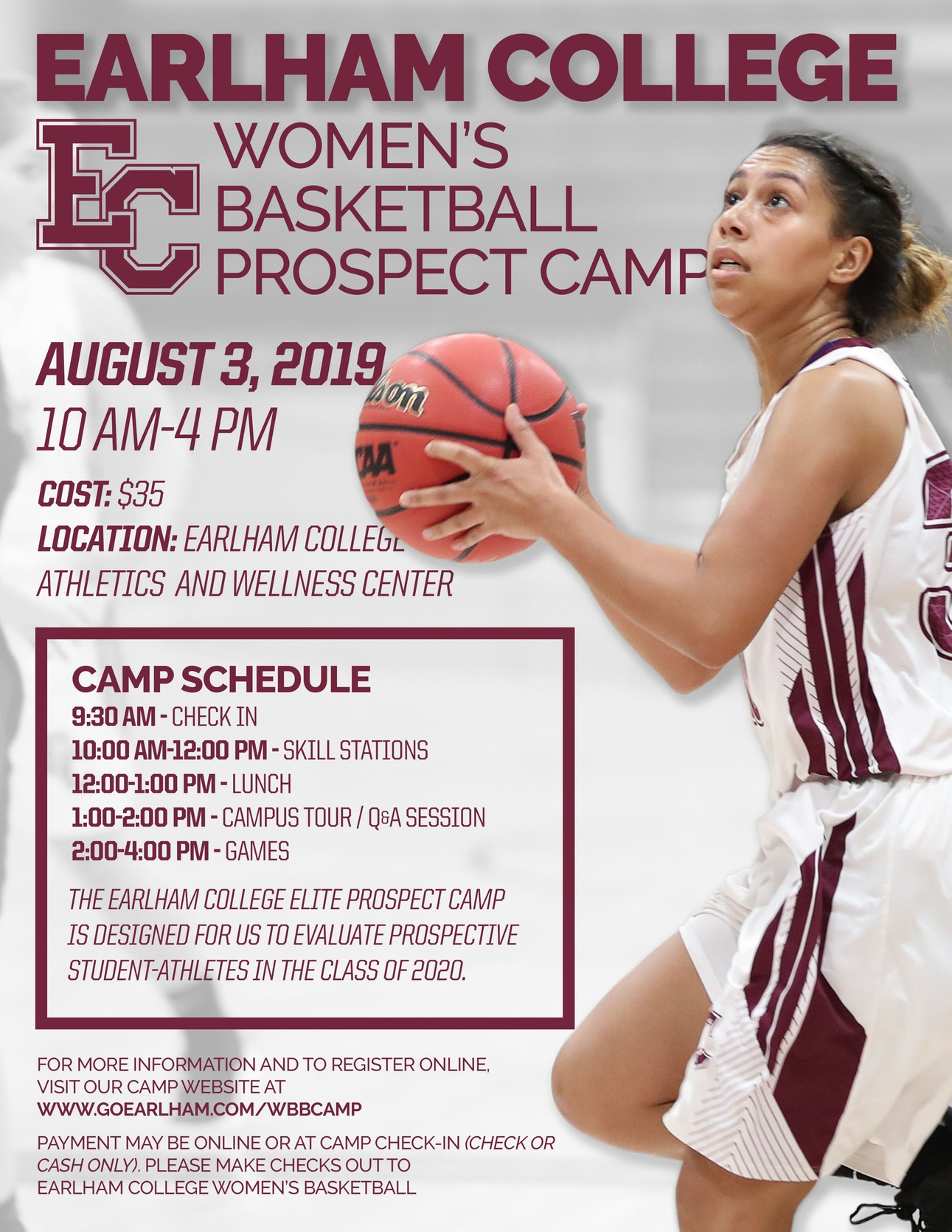 2019 Earlham College WBB Prospect Camp flyer