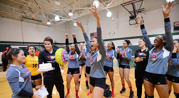The Eagles celebrate teammate Yara Ramirez's birthday and a 3-1 win over Lake-Sumter State College. (Photo by Tom Hagerty, Polk State.)