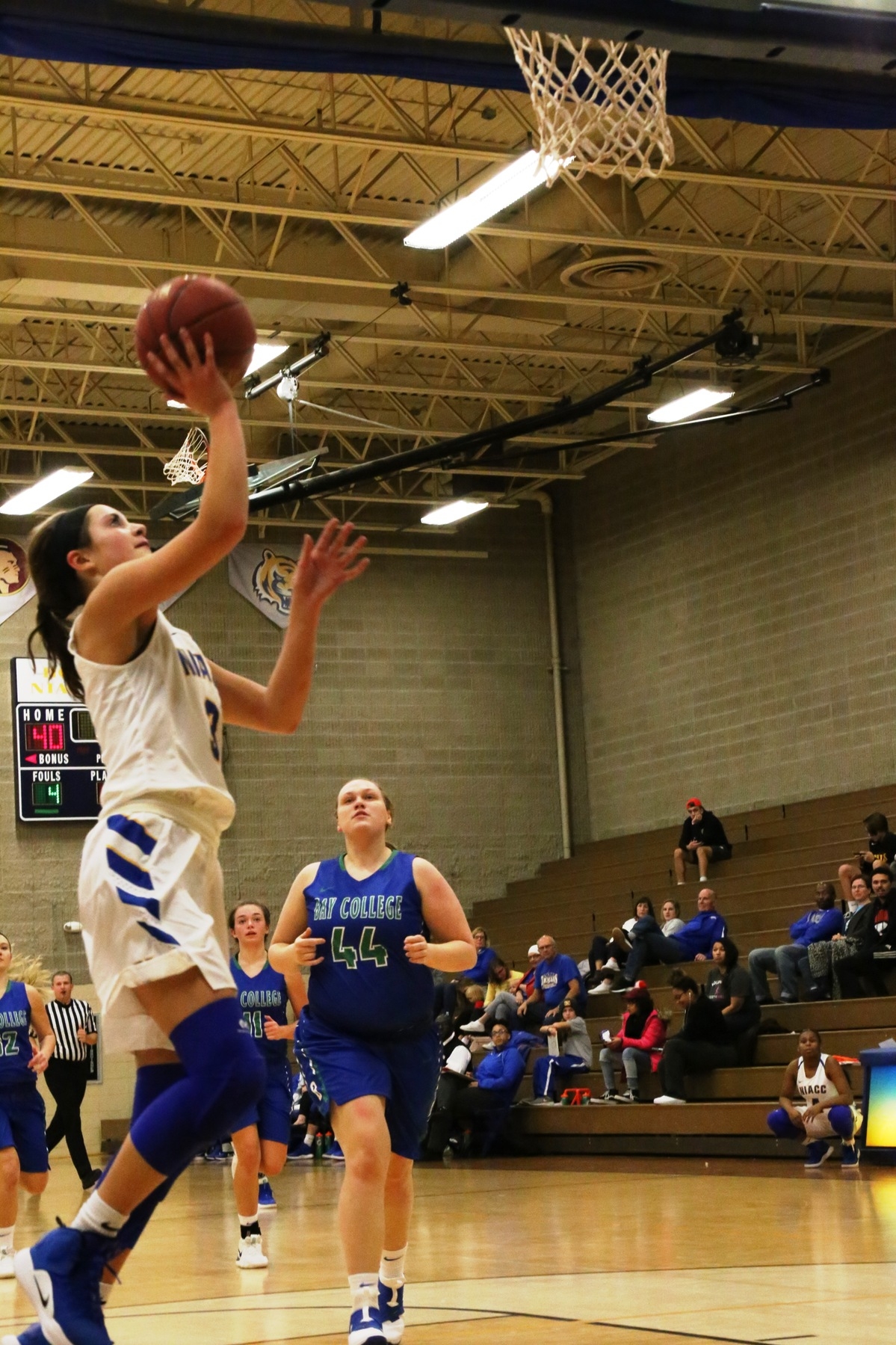 Mandy Willems scores on a layup against Bay College in Saturday's game at the Konigsmark Klassic.