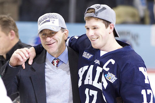 Yale head coach Keith Allain (l) and Bulldogs captain Andrew Miller. Photo by Jim Rosvold.