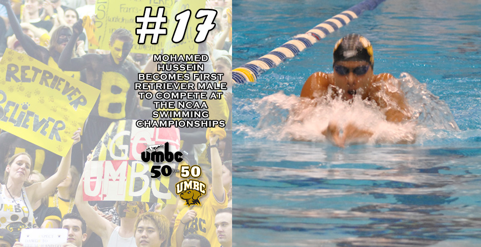 #retriever50for50- Hussein Becomes First UMBC Male Swimmer to Compete at the NCAA Championships