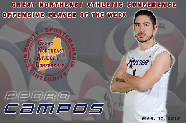 Men's Volleyball: Pedro Campos has been selected as week sevens, GNAC Offensive Player of the Week.