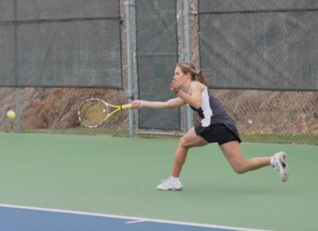 Freshman Nicole Mahaffey won a pair of matches in Scranton's 5-4 loss to Ithaca in an NCAA Tournament first-round match on Friday in Middlebury, Vt.
