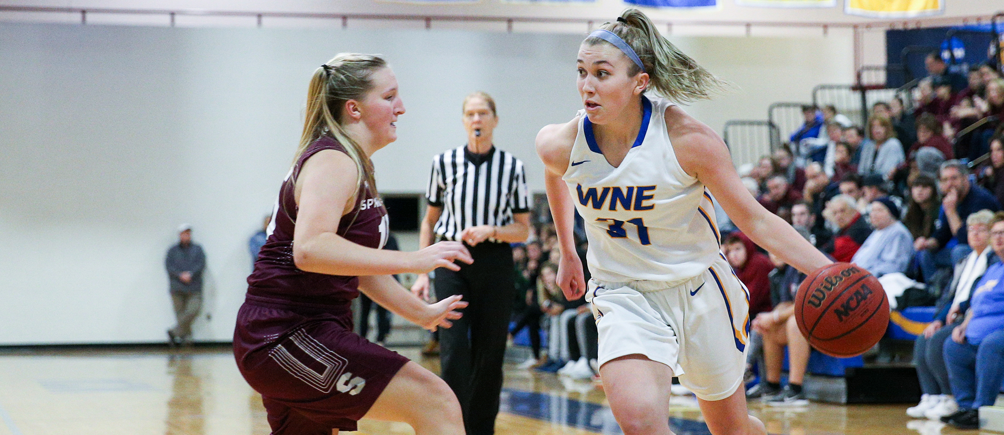 Junior Meghan Orbann finished with 11 points & seven rebounds in Western New England's 66-54 loss to Worcester State on Tuesday. (Photo by Chris Marion)