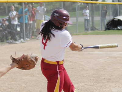 Senior Rhea Flores had one of Ferris State's five hits in a 2-1 loss to Northwood Wednesday afternoon.  (Photo by Zeke Jennings/Pioneer)