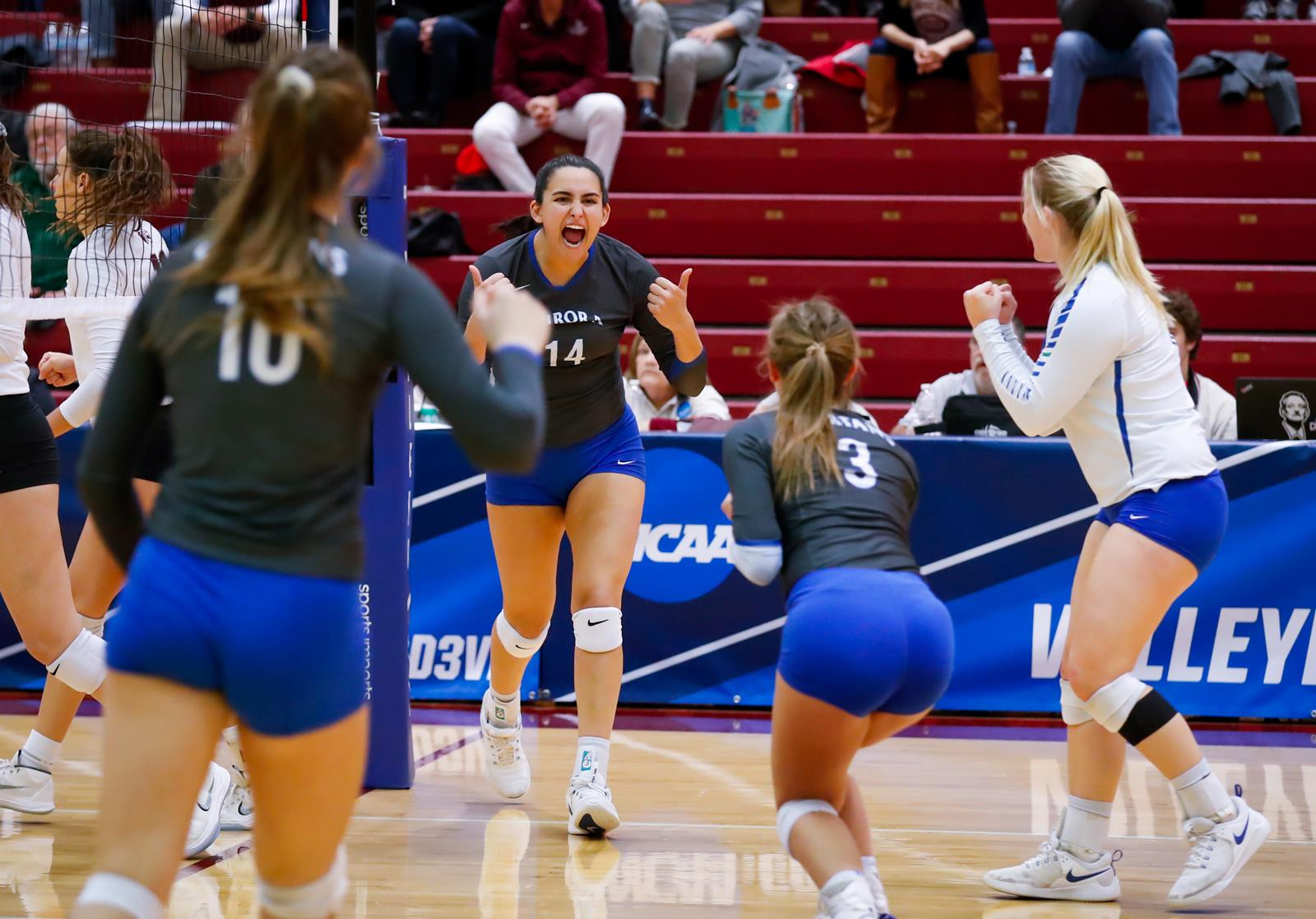 Aurora University advanced to the second round of the NCAA Division III Women's Volleyball Championship with a sweep of Trinity (Texas) (Photo credit: Steve Woltmann)