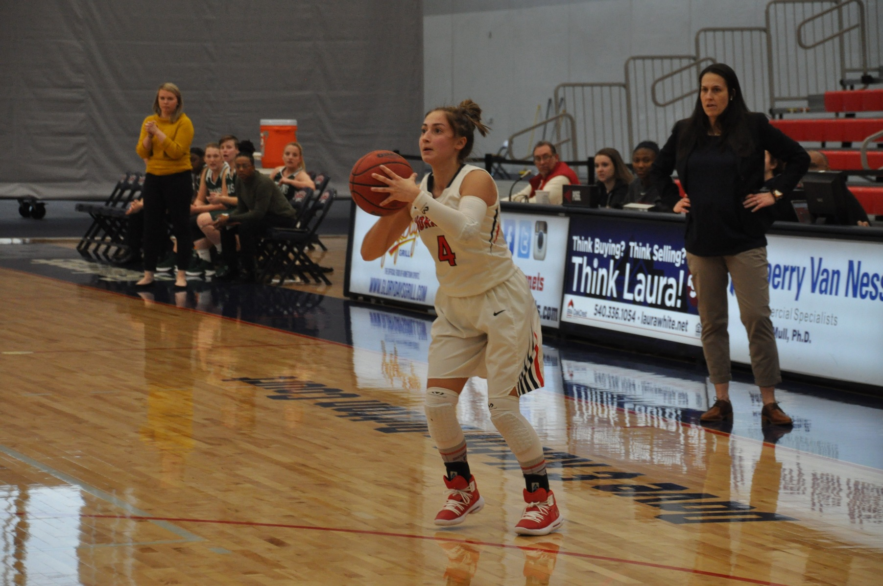 Sarah Donley recorded five assists and four rebounds in the52-42 win over Hollins.