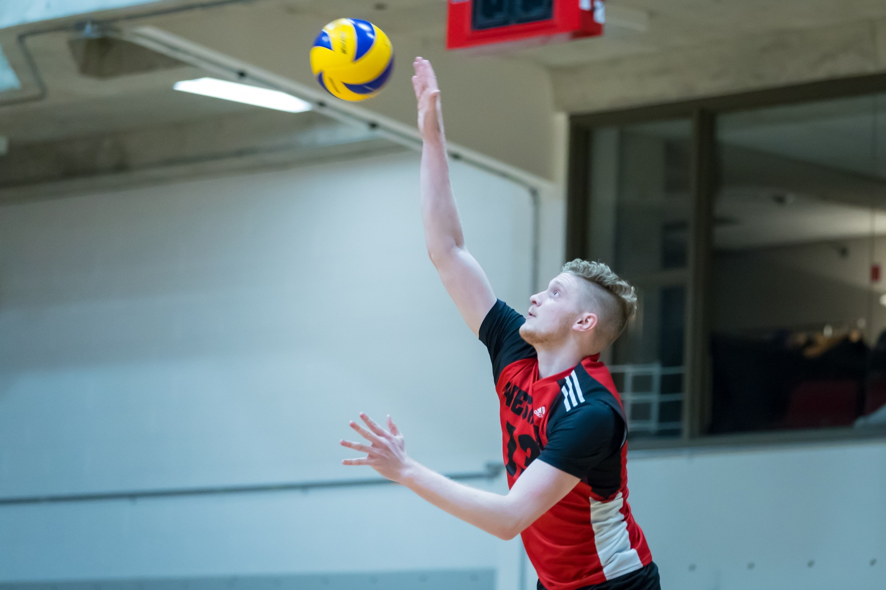 Ethan Duncan led the Wesmen with eight kills and hit .400 for the match in a win over the Dalhousie Tigers Oct. 9, 2018. (Kelly Morton/Wesmen Athletics file)