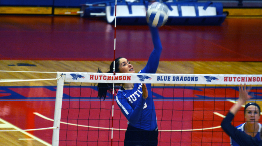 Elena Takova had 18 kills in a four-set win over Hill College on Friday as Hutchinson competed in the TJC Invitational in Tyler, Texas (Bre Rogers/Blue Dragon Sports Information)