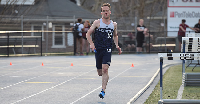 Mike Kopach '18 runs in the 4x400-meter relay at the Coach P Invitational on Timothy Breidegam Track.