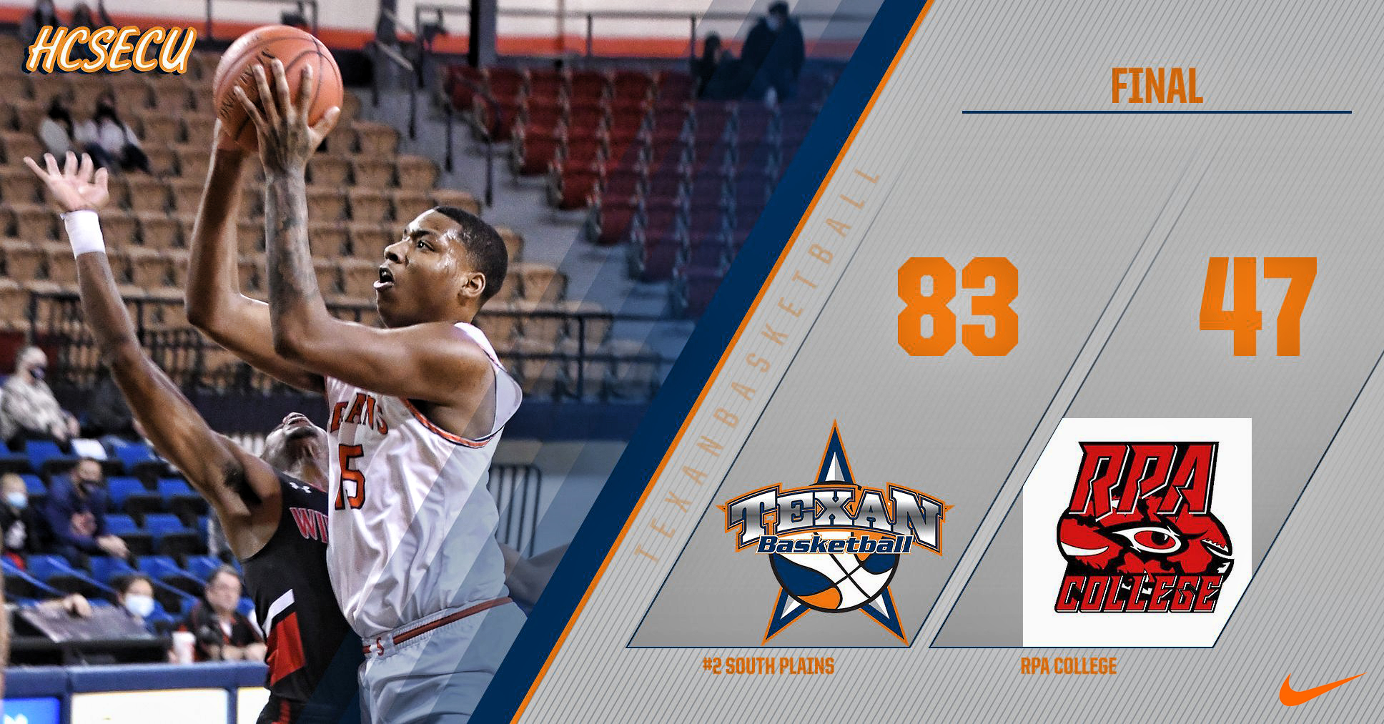 Gardner's double-double leads No. 2 South Plains over RPA College 83-47