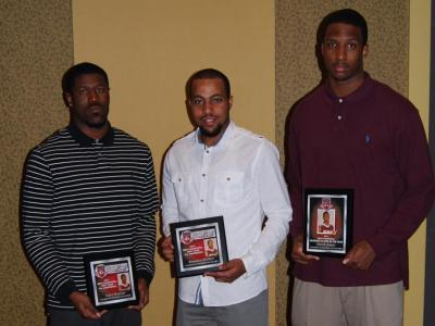 From L to R: Senior Nigel Munson (First Team), senior Brandon Herbert (First Team) and junior Dyrek Jones (Defensive Player of the Year)