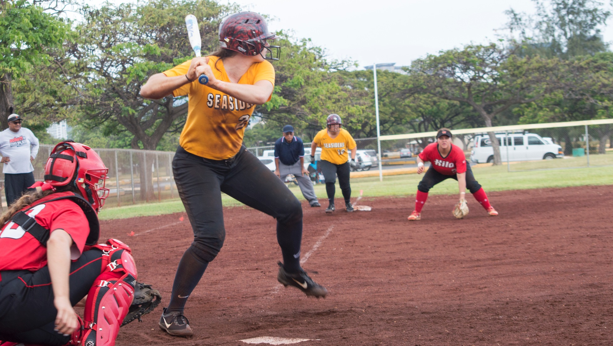 Alanna Anderson readies for a pitch against Hawaii Hilo at Sand Island Park.