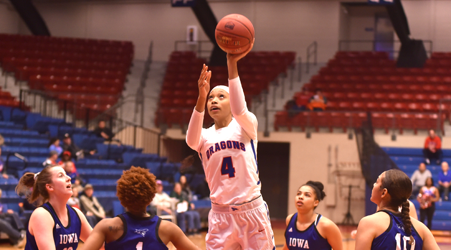 Tijuana Kimbro posted her first career double-double as the No. 6 Blue Dragon women defeated Allen 102-67 on Saturday in Iola. (Casey Bailey/Blue Dragon Sports Information)