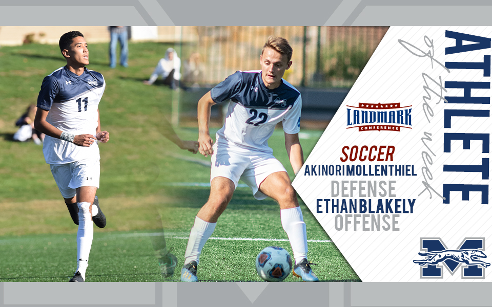 Akinori Mollenthiel and Ethan Blakely selected as Landmark Conference Men's Soccer Athletes of the Week