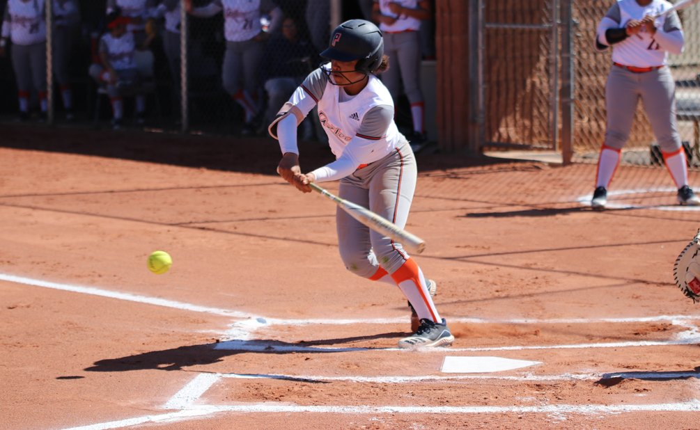 Sophomore Amaya Turner-Vizcarra (Tucson HS) finished 4 for 7 with an RBI, a run and two doubles as the Aztecs softball team split an ACCAC doubleheader at Eastern Arizona College winning 3-2 and falling 6-0. The Aztecs are now 9-8 overall and in ACCAC conference play. Photo by Stephanie Van Latum