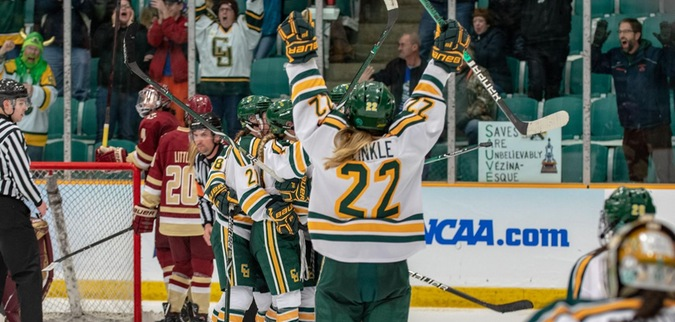 Giguere, Clarkson downs Boston college in overtime, advances to Frozen Four