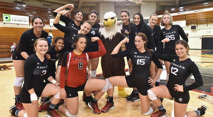 Eagles celebrate after defeating Hillsborough 3-0. (Photo by Tom Hagerty, Polk State.)