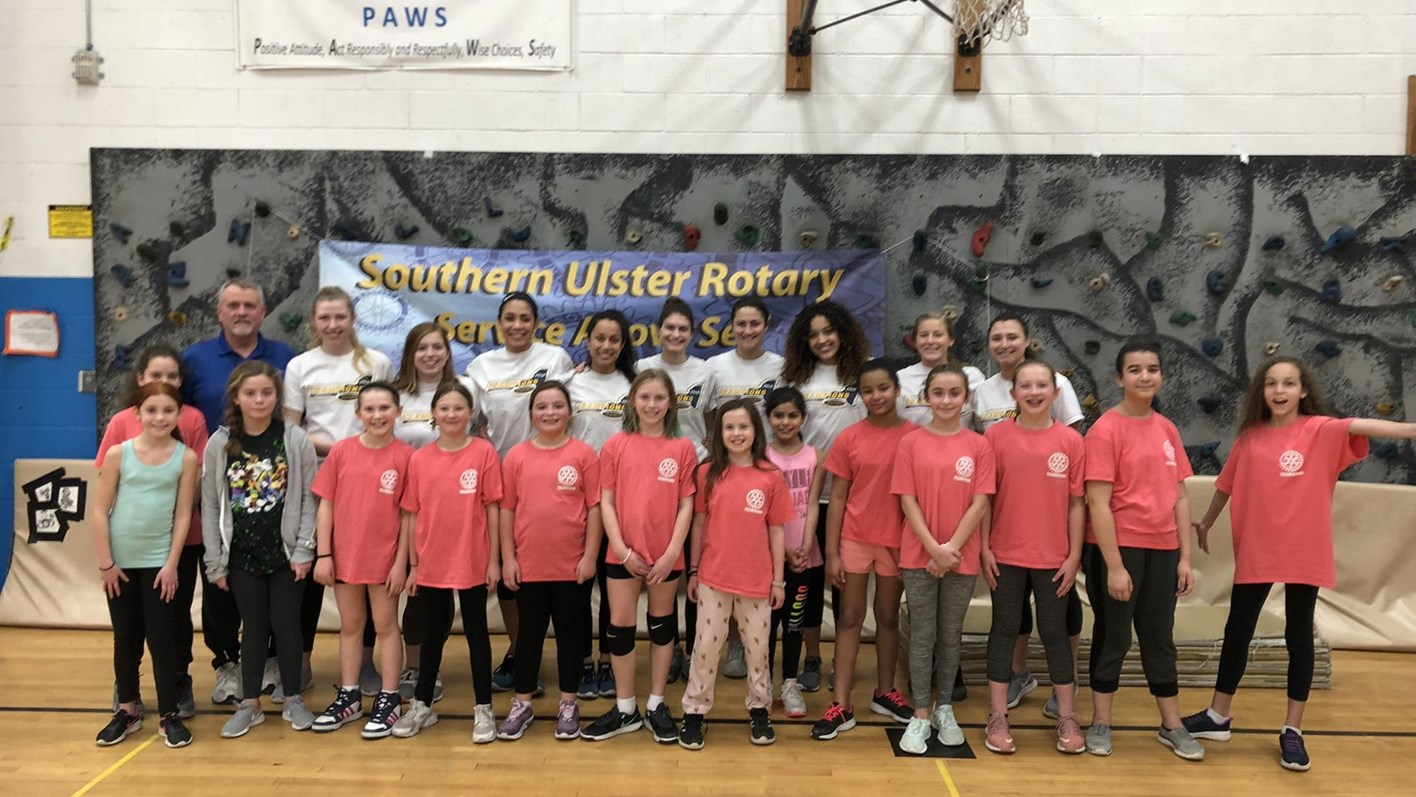New Paltz Women's Volleyball Volunteers at Plattekill Elementary with Walkill Rotary Club Youth Volleyball Program
