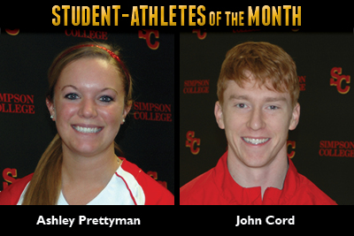 Prettyman, Cord named April Student-Athletes of the Month