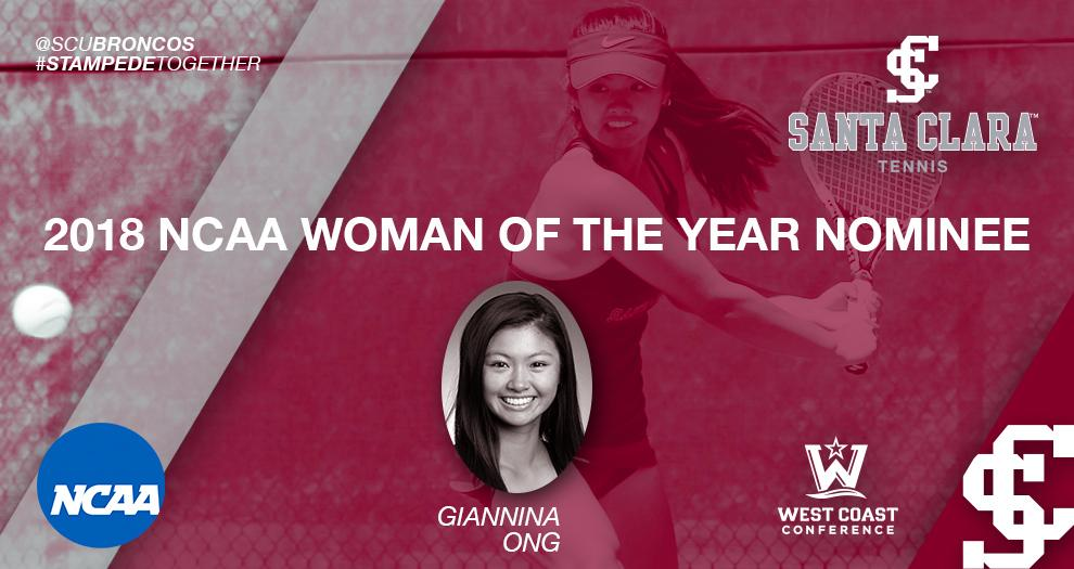 Women's Tennis - Giannina Ong Nominated For 2018 NCAA Woman of the Year Award