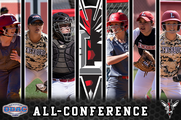Pictured: the six Lynchburg College softball All-ODAC players with the Lynchburg Hornet logo in the center.