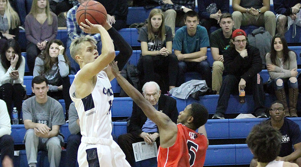 Ignas Masiulionis shooting a fallaway jumper from his freshman year. (Case Western Reserve athletics file photo)