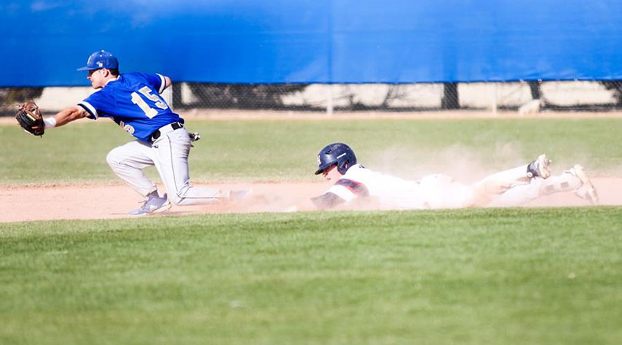 The Blue Dragon baseball team split a doubleheader with Barton on Sunday at Hobart-Detter Field, falling 6-4 in the opener before winning the finale 9-3. (Bre Rogers/Blue Dragon Sports Information)