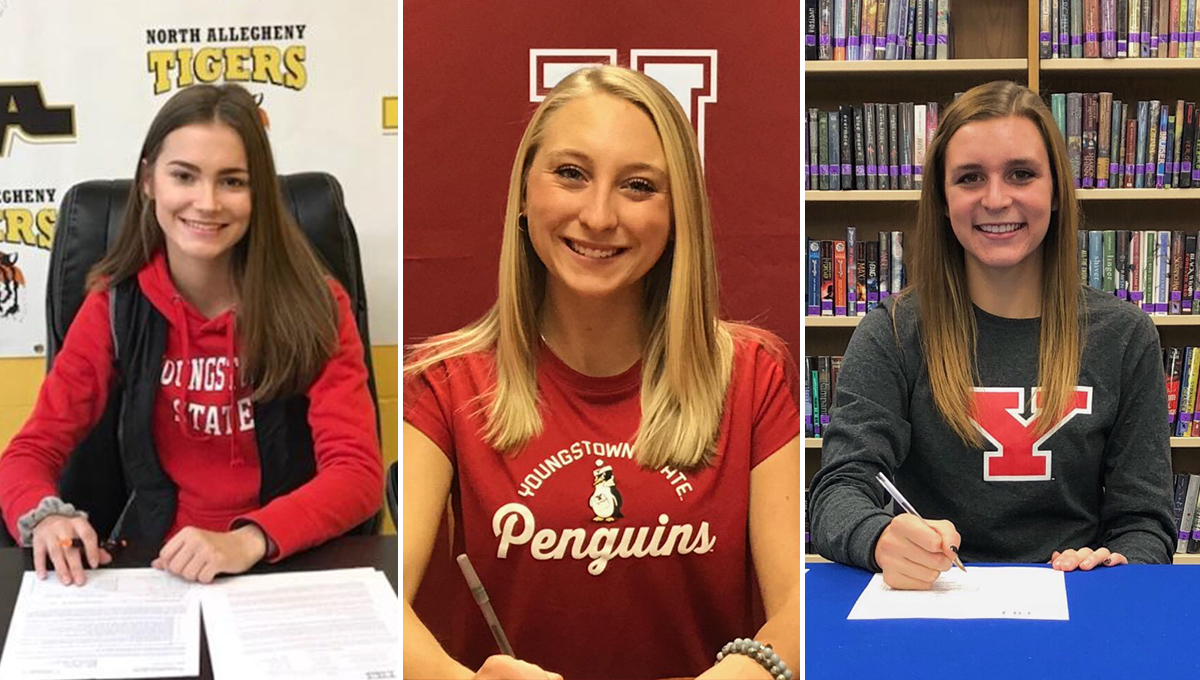Christina Lewis, Danae Rugola and Allison St. Clair (L-R) will join YSU Women's Golf in the fall of 2019