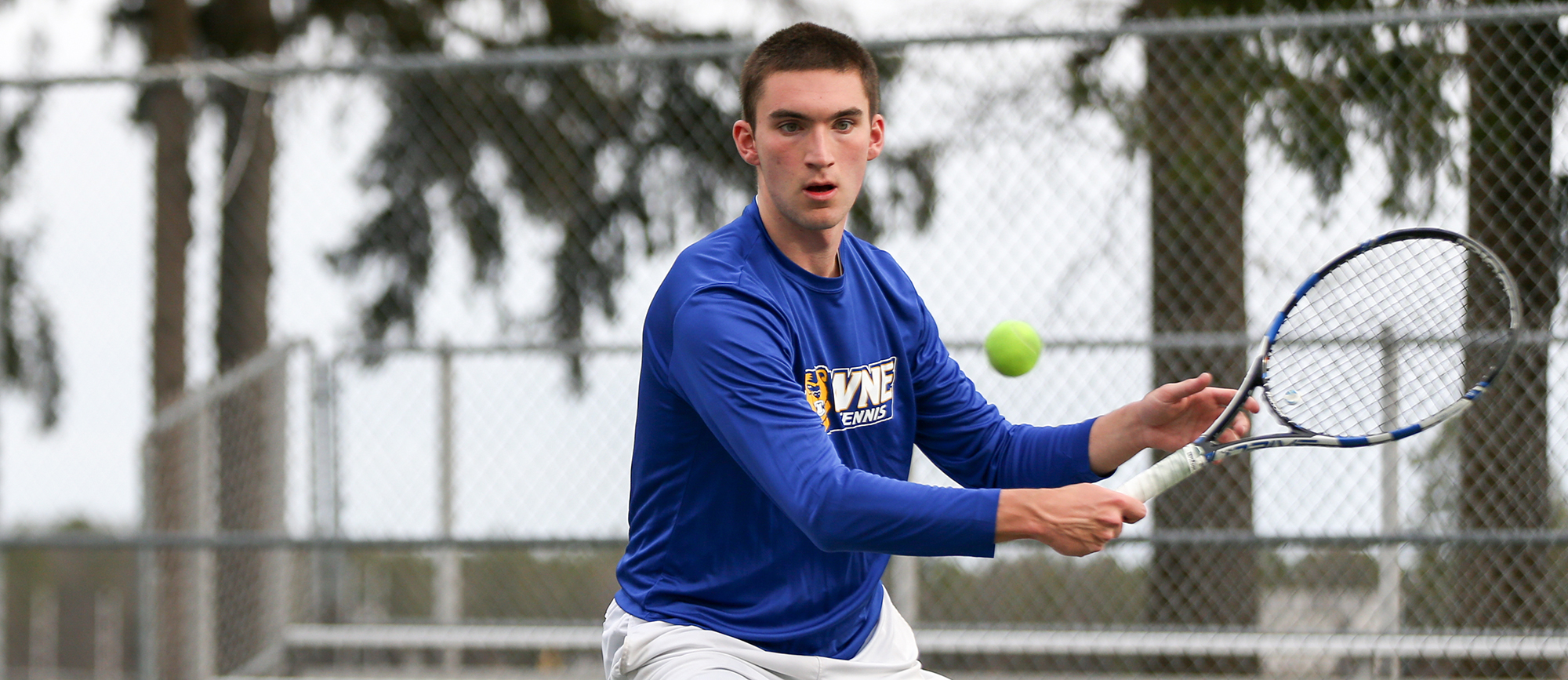 Griffin Arnold posted a 7-5, 6-2 win at No. 5 singles in Western New England's 9-0 victory over Salve Regina on Wednesday. (Photo by Chris Marion)