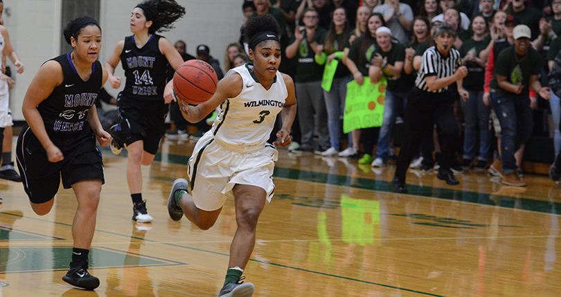 Senior Brittaney Jefferson drives for two of her 14 points as Wilmington advanced to the OAC semifinals. (Wilmington photo/Randy Sarvis)