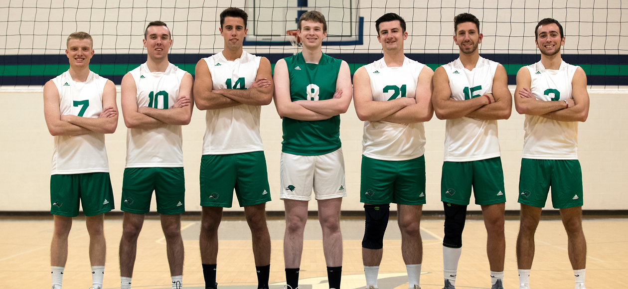 Photo of seven men's volleyball seniors at the net.