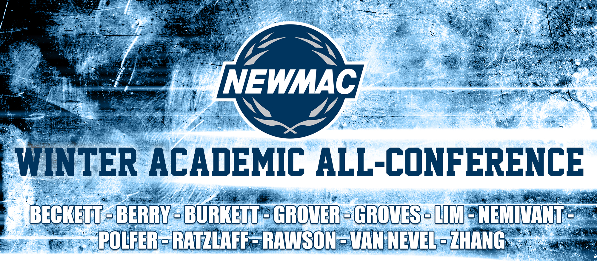Graphic promoting the 2017-18 NEWMAC Winter Academic All-Conference selections from the sports of Basketball and Swimming & Diving.